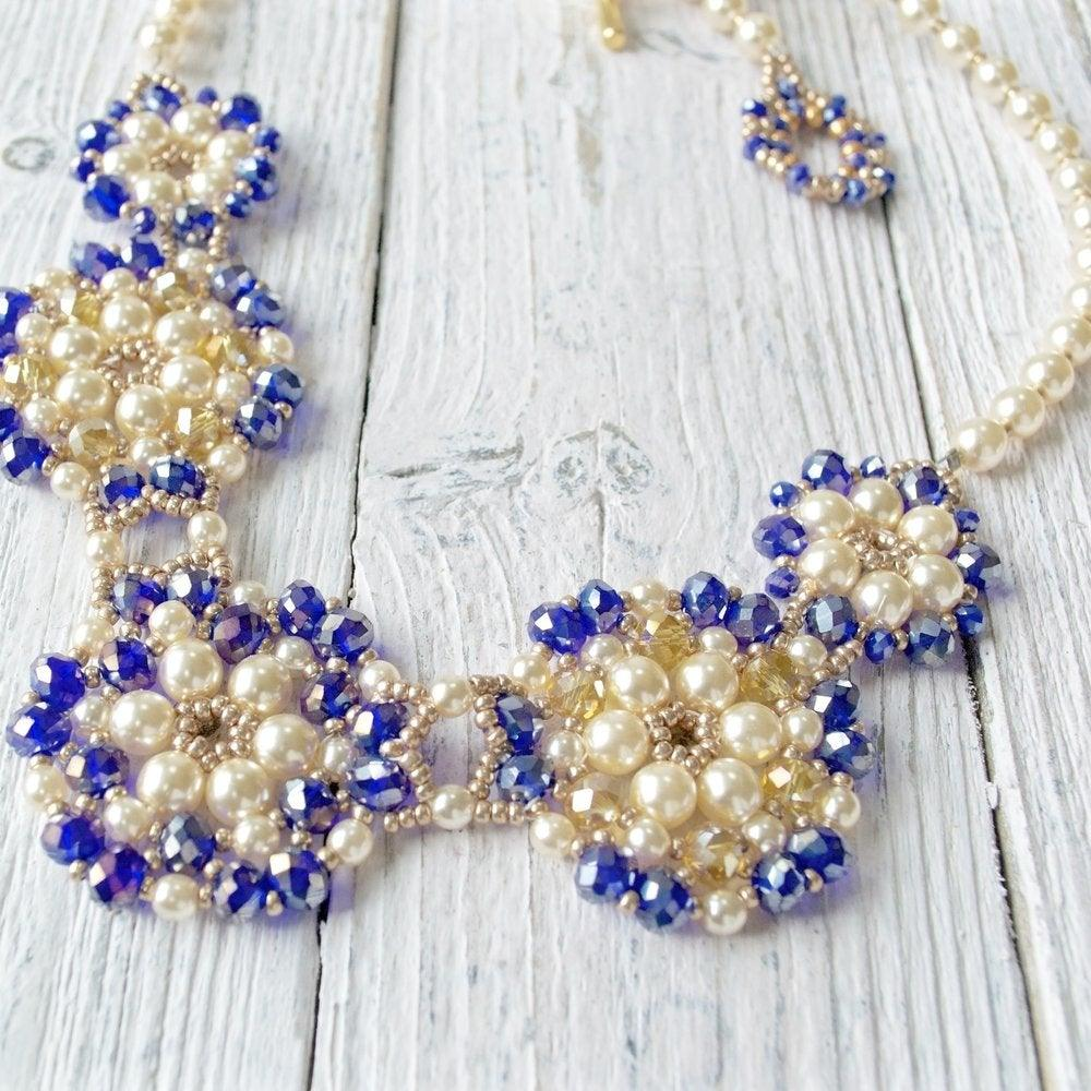 Blue Crystal & Pearl Statement Necklace Uni-T
