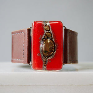 "Fused Recycled Glass 1.2"" Reclaimed Leather Cuff - Uni-T"