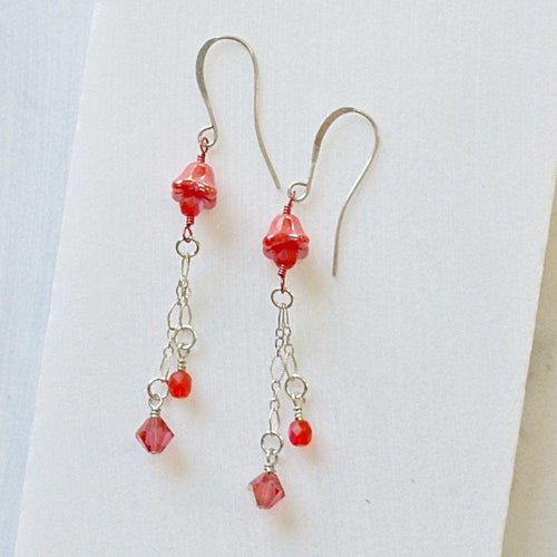 Pink Czech Glass Flower & Crystal Earrings - Uni-T