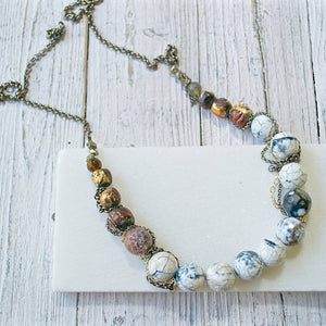 White Agate & 22K Gold Painted Antique Mala Beads with Pyrite Necklace Uni-T