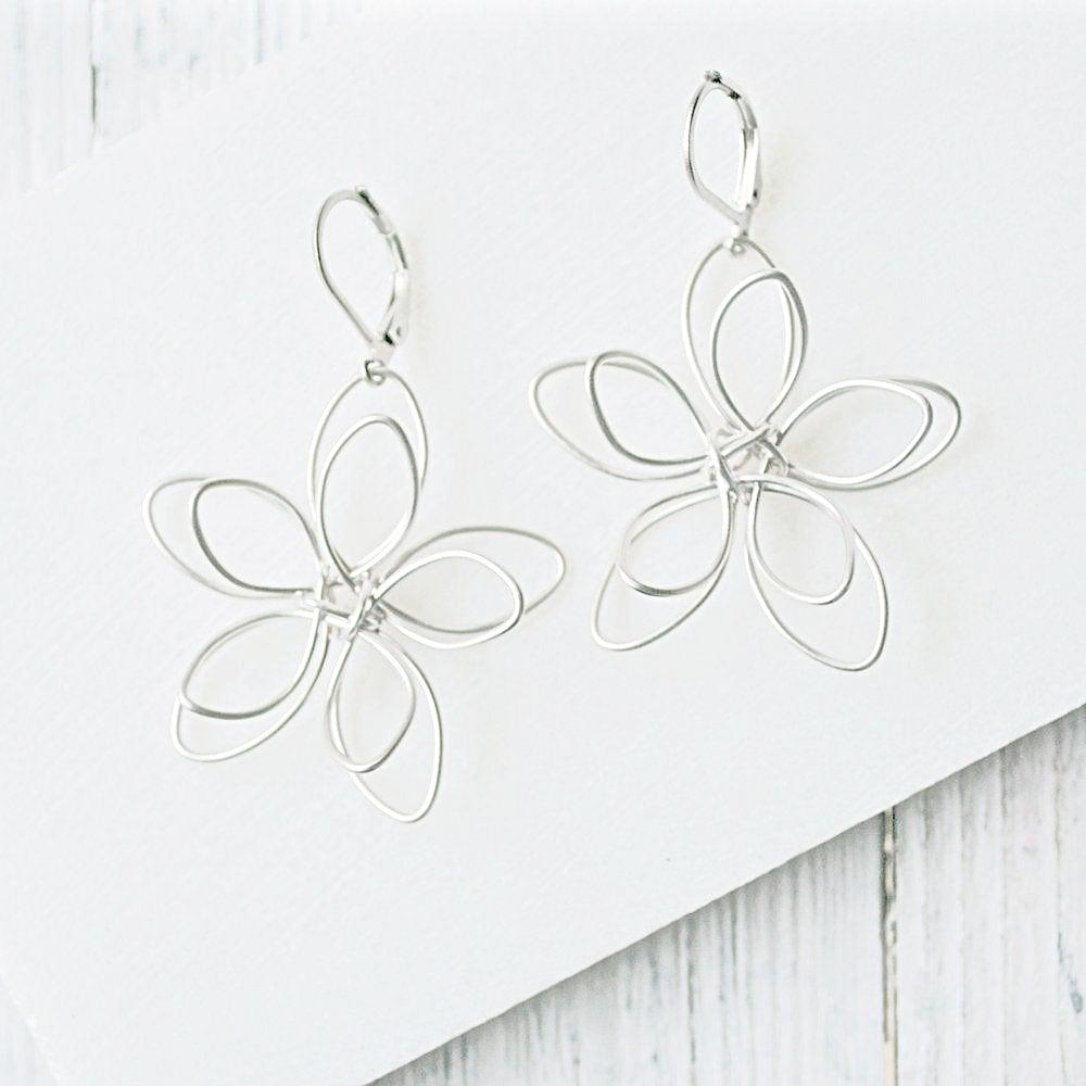 Rhodium Plated Earrings with Surgical Steel Ear Wire - Flower