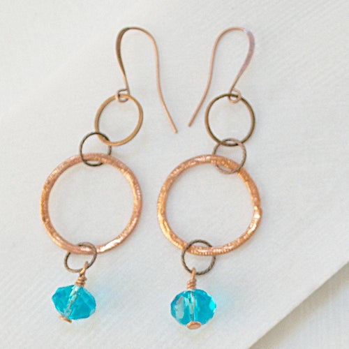 Copper Circles & Blue Crystal Earrings - Uni-T