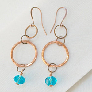Copper Circles & Blue Crystal Earrings Uni-T