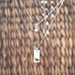 Mother Daughter Necklace Set, Sterling Silver Charm Necklaces Uni-T
