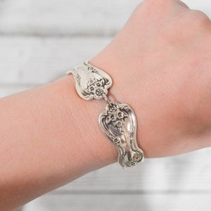 Silver Plated Vintage Silverware Handle Bracelet with Magnetic Clasp - Uni-T