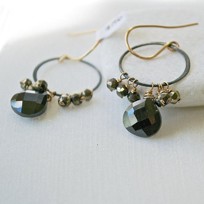 Black Spinel With Gunmetal Hoop And Vermeil Earring Hooks Uni-T