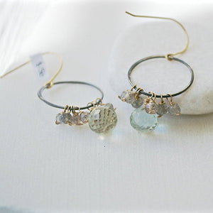 Peridot & Labradorite With Gunmetal Hoop And Sterling Silver Earring Hooks Uni-T
