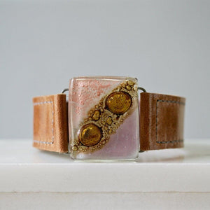 "Fused Recycled Glass 0.75"" Reclaimed Leather Cuff - Uni-T"