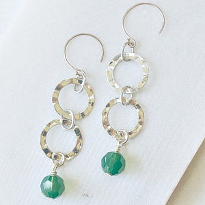Silver Hammered Circles with Green Crystals Earrings - Uni-T
