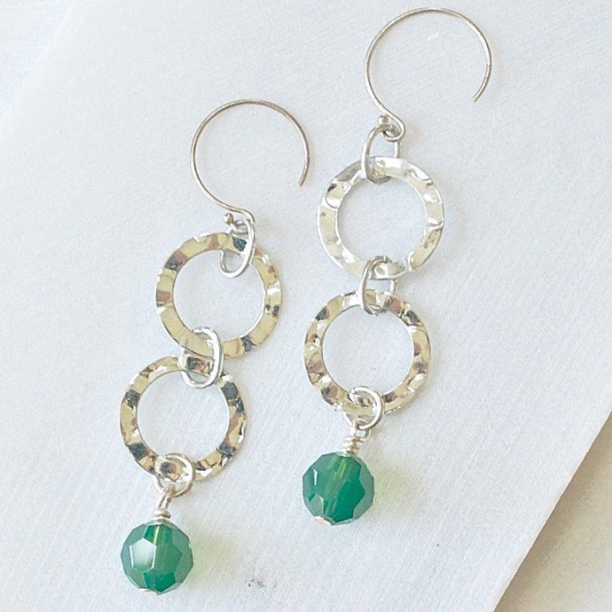 Silver Hammered Circles with Green Crystals Earrings Uni-T
