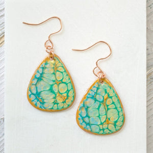 Tear Drop Enamel Earrings - Turquoise & Copper Uni-T