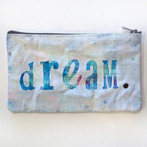 Pencil pouch, Hand Painted, Inspirational Word Art ZIPPER POUCH