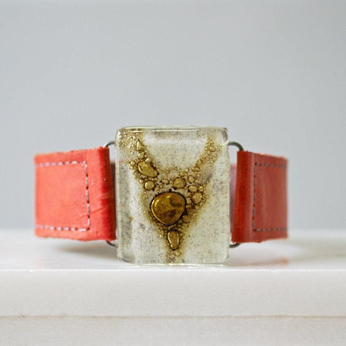 Fused Recycled Glass Leather Cuff - Uni-T