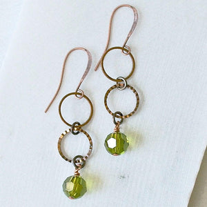 Small Copper Circles with Green Crystals Earrings - Uni-T