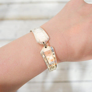 Silver Plated Vintage Silverware Handle Bracelet with Magnetic Clasp Uni-T