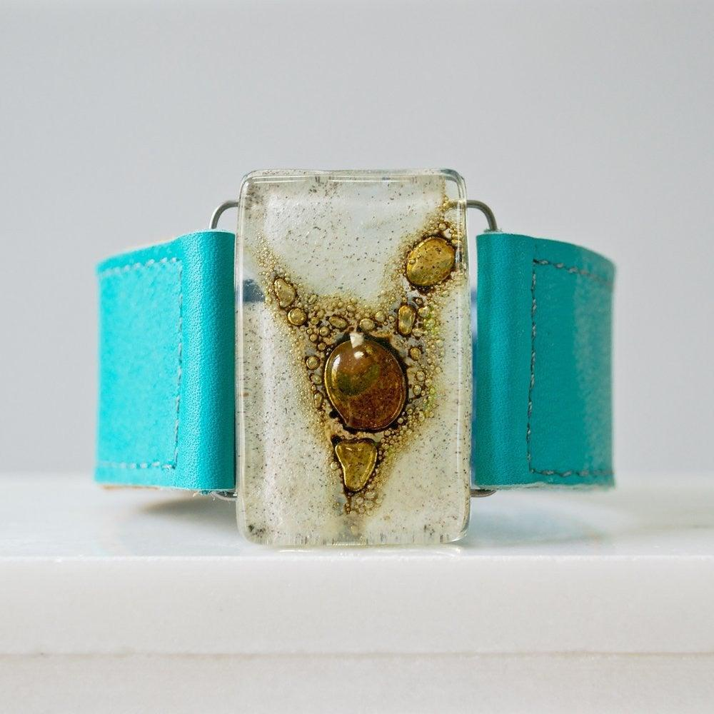 "Fused Recycled Glass 1.2"" Reclaimed Leather Cuff Uni-T"