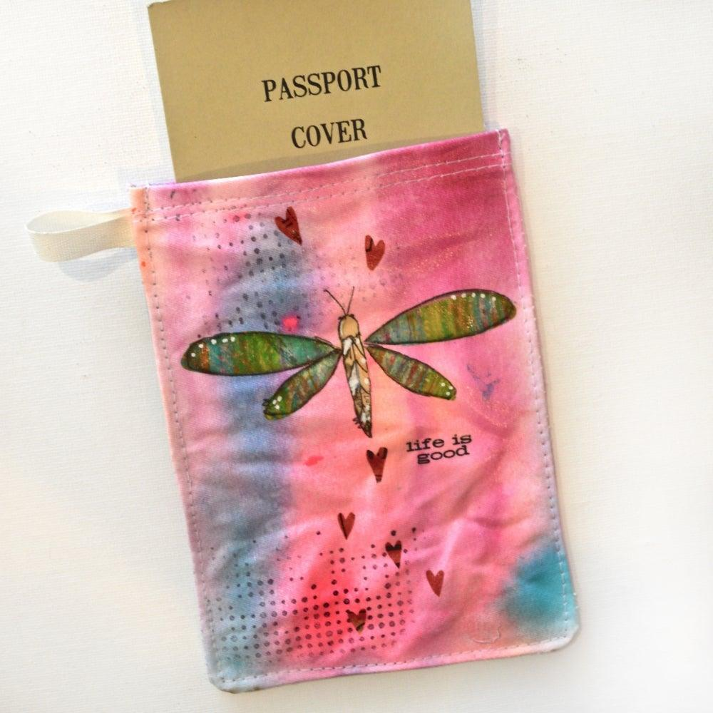 Passport Holder, Hand Painted Mixed Media Zipper Pouch Uni-T