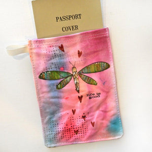 Passport Holder, Hand Painted Mixed Media Zipper Pouch