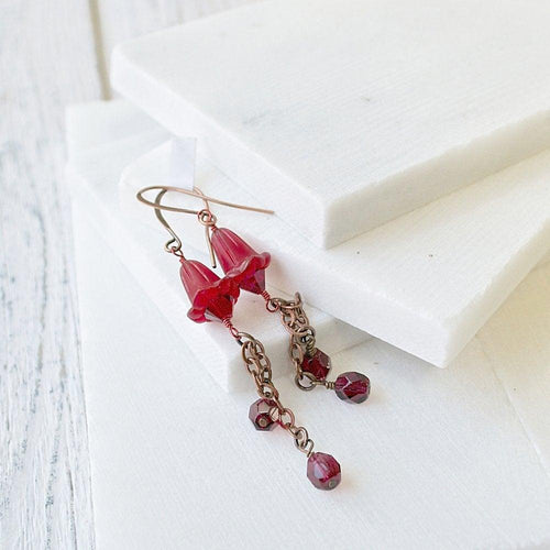 Red Lucite & Crystal Earrings - Uni-T