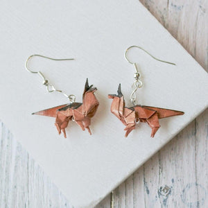 Origami Dog Earrings - Saddle Brown Uni-T