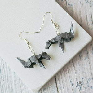 Origami Dog Earrings - Grey Uni-T