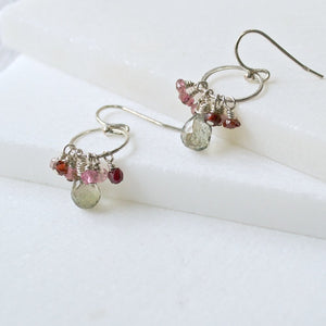 Tourmaline, Smoky Quartz & Sterling Silver Earrings Uni-T