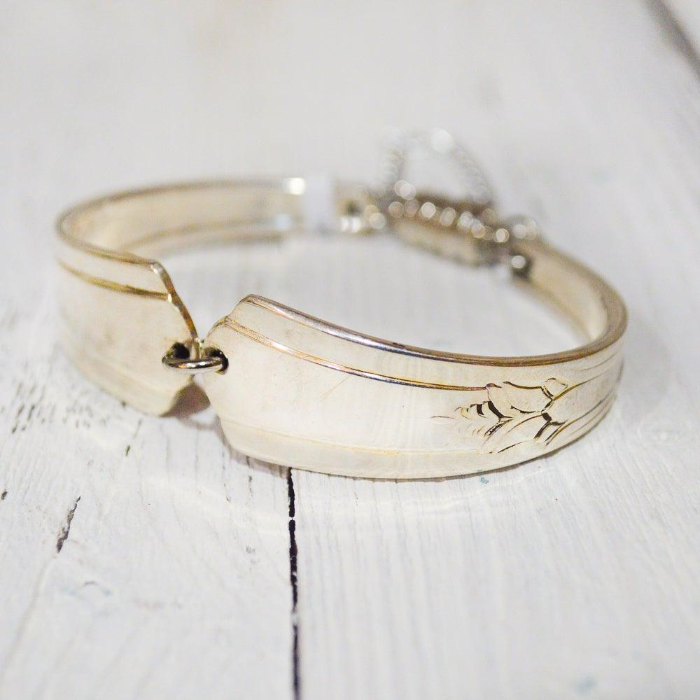 silver plated vintage silverware handle bracelet with magnetic clasp