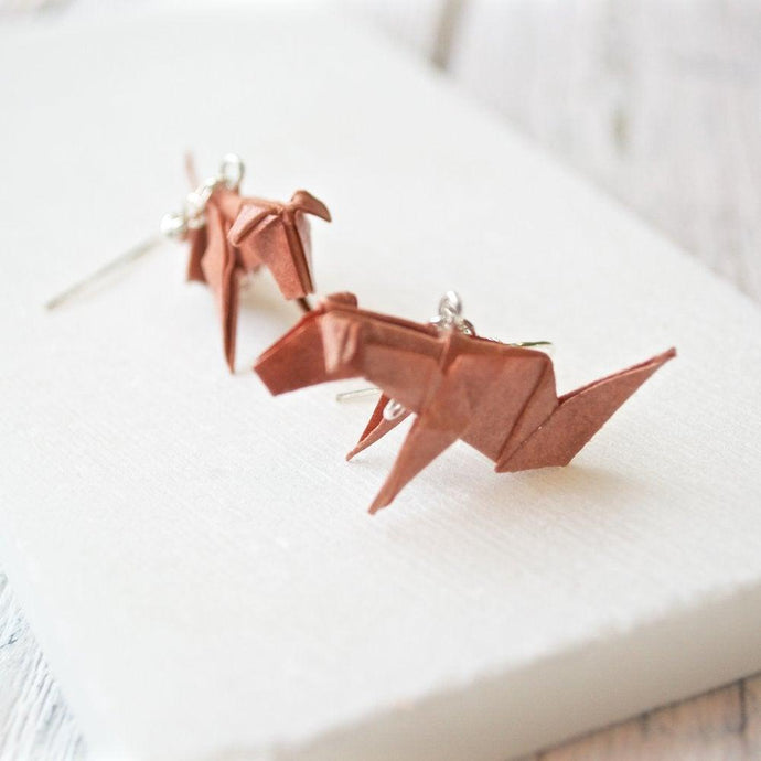 Origami Dog Earrings- Brown Uni-T