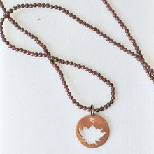 Mixed Garnet With Hand Cut Lotus Copper Charm & White Topaz Uni-T