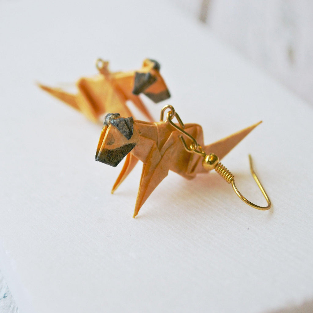 Origami Dog Earrings - Tan and Brown Uni-T