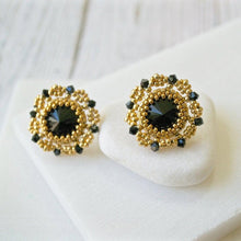 Black and Gold Czech Crystals & Seed Beads Studs Uni-T
