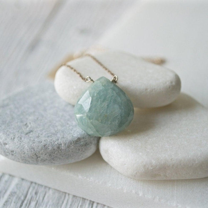 Aquamarine Gemstone & Sterling Silver Necklace Uni-T