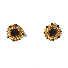 Black and Gold Czech Crystals & Seed Beads Studs - Uni-T