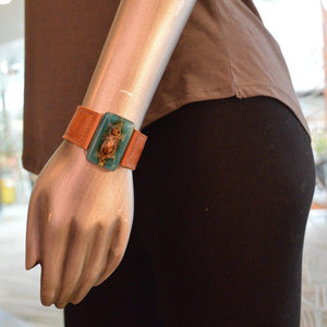 Fused Recycled Glass Reclaimed Leather Bracelet Uni-T
