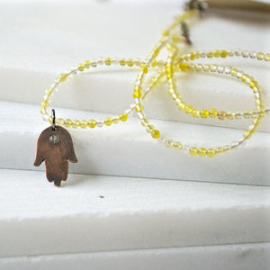 Mixed Gemstones with Hand Cut Copper Hamsa & Topaz Charm Necklace  Uni-T