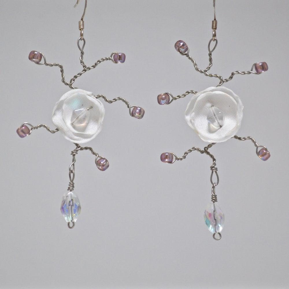 Delicate White Flower Earrings By Emily Garfield Somerville Ma