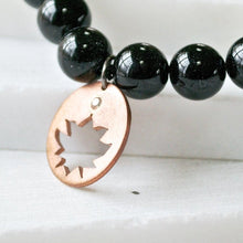 Black Onyx Mala Bracelet with Handmade Copper Charm Uni-T