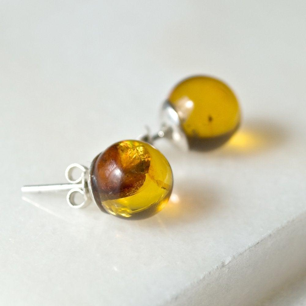 Amber Sterling Silver Earrings Stud Ball Uni-T