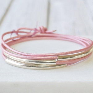 Pink Leather Silver/Gold Wrap Bracelet - One Size fits all Uni-T