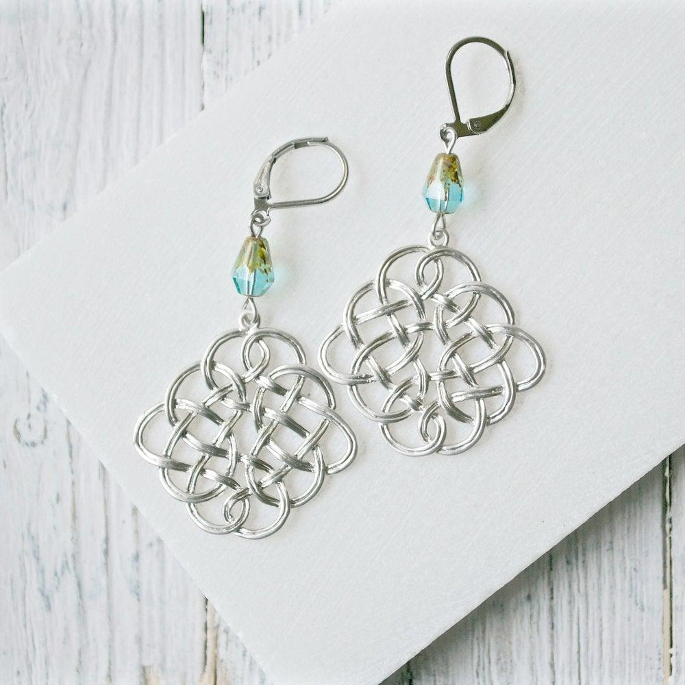 Rhodium Plated Earrings with Surgical Steel Ear Wire - Square