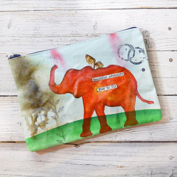 Elephant Pouches, Hand Painted Mixed Media Zipper Pouch Uni-T