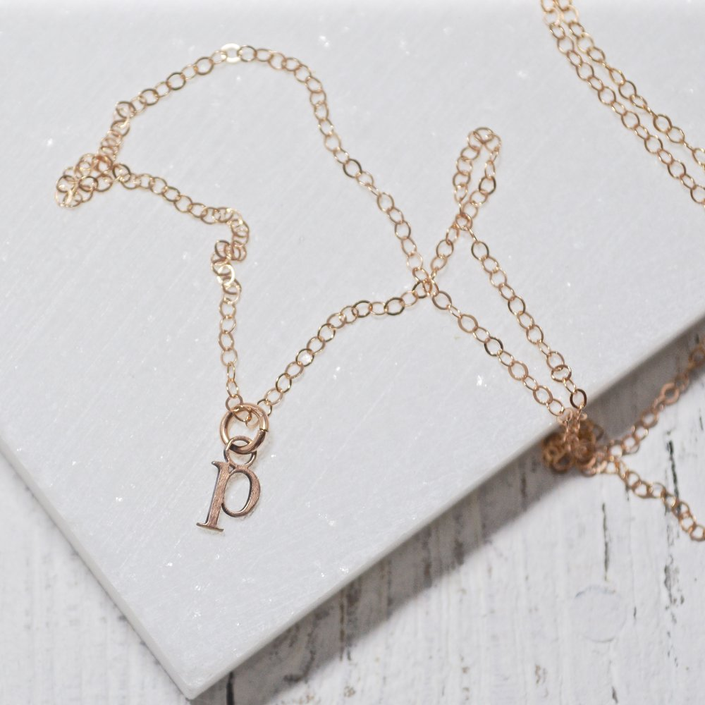 Tiny initial charm necklaces rose gold tiny initial charm necklaces rose gold uni t aloadofball Images