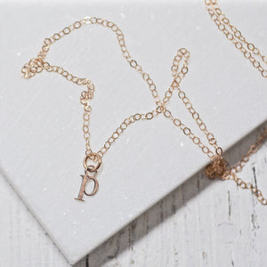 Tiny Initial Charm Necklaces -Rose Gold Uni-T