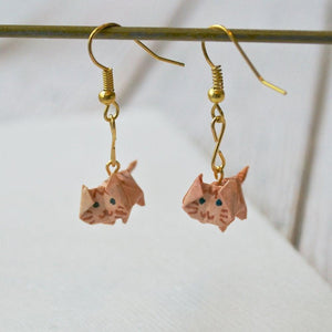 Itty Bitty Origami Cat Earrings Uni-T