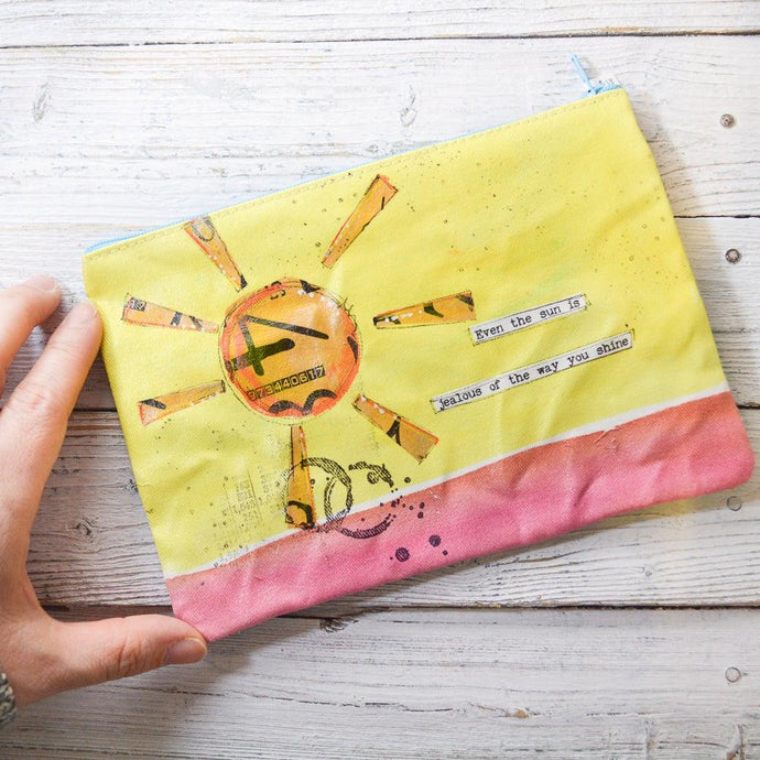 Art Pouches, Hand Painted Mixed Media Zipper Pouch Uni-T