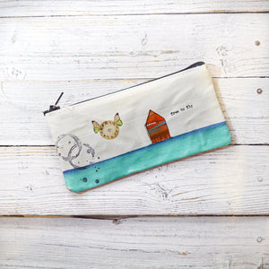 Pencil Pouches, Hand Painted Mixed Media Zipper Pouch Uni-T
