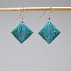 Single Color Square Enamel Earrings - Uni-T