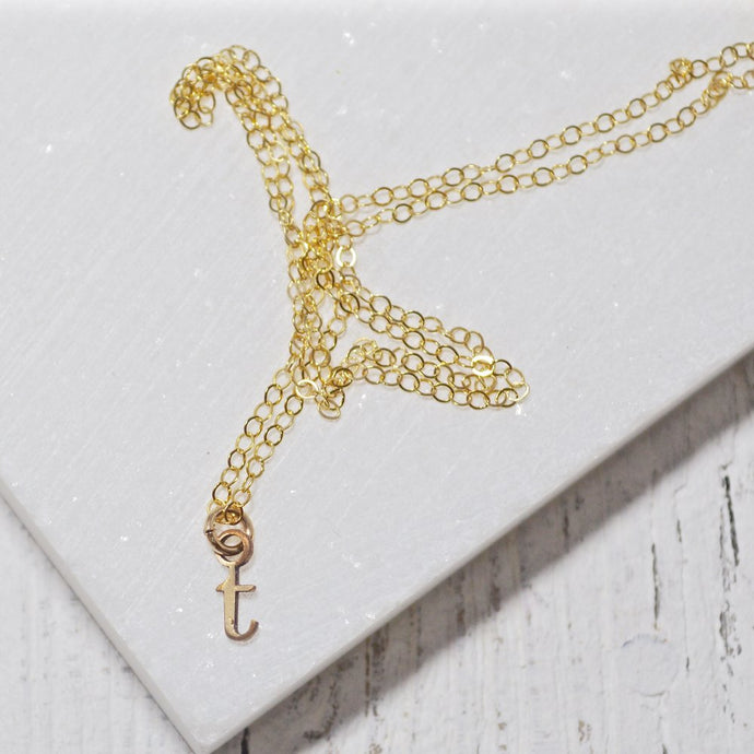 Tiny Initial Charm Necklaces -Gold Fill Uni-T