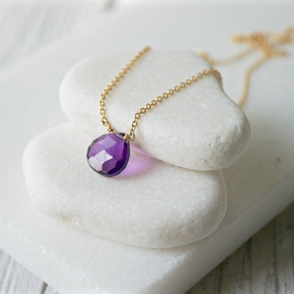 Amethyst Necklaces with Gold Filled Chain Uni-T