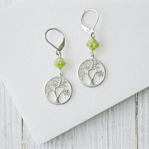 Rhodium Plated Earrings with Surgical Steel Ear Wire - Tree & Butterfly Uni-T